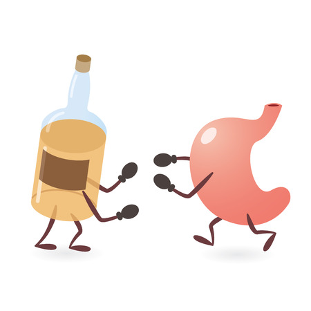 Stomach and Alcoholic Drink Bottle Fighting Ilustrace
