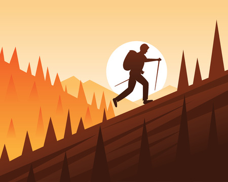 Trekking and Climbing Scene Illustration