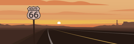 Road and Route 66 Sign and Sunset Scene 일러스트