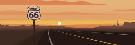 Señal de carretera y ruta 66 y escena de puesta de sol