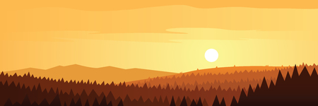 Forest Mountains and Sun Scene