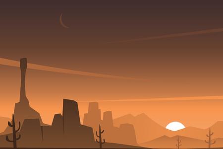 Beautiful Rocky Desert Scene Çizim