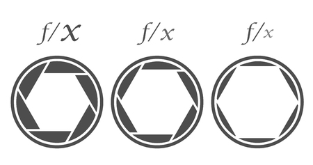 Différentes valeurs d'ouverture du diaphragme de l'objectif