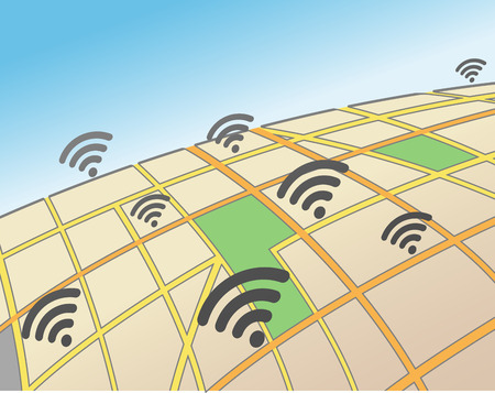 Wifi Hotspots in an Urban Area Ilustrace