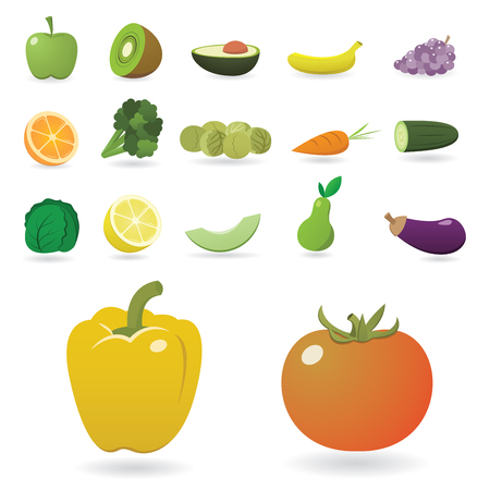 Set of Detailed Fruits and Vegetables