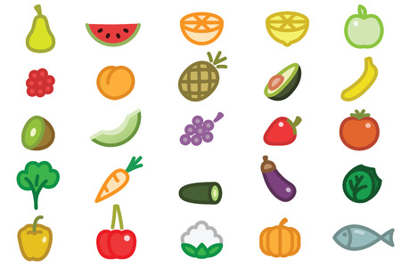 Set of Simple Fruits Vegetables and Fish