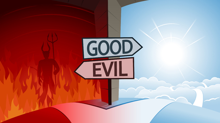 Good and Evil and Road to Heaven or Hell Concept Ilustrace