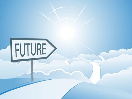 Bright Future Sign and Road Concept Ilustrace