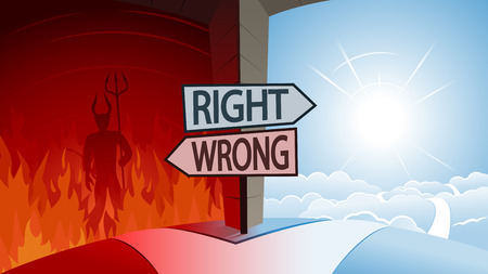 Right and Wrong and Road to Heaven or Hell Concept Stockfoto - 112344568