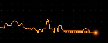 Los Angeles Light Streak Skyline Illustration