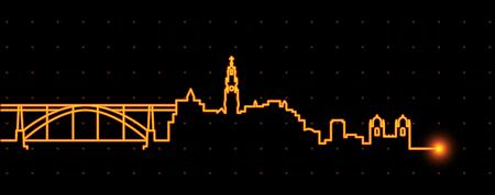 Porto Light Streak Skyline 免版税图像 - 112129184