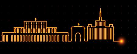 Bucharest Light Streak Skyline Illustration