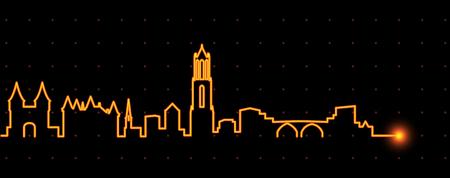 Utrecht Light Streak Skyline Illustration