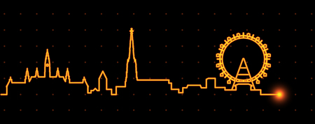 Vienna Light Streak Skyline Illustration