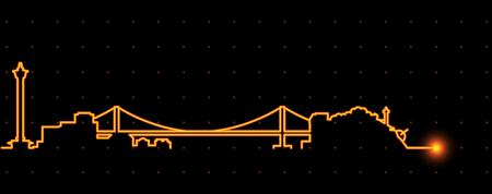 Busan Light Streak Skyline Illustration
