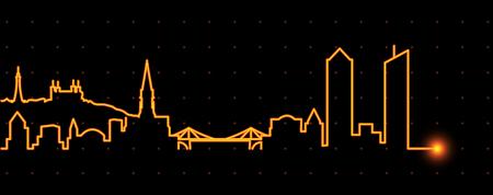 Lyon Light Streak Skyline Illustration