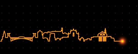 Ljubljana Light Streak Skyline Stock Vector - 110350011