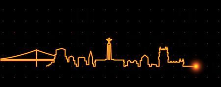 Lisbon Light Streak Skyline Vettoriali