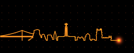 Lisbon Light Streak Skyline Illustration