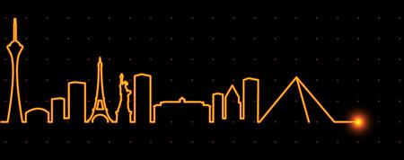 Las Vegas Light Streak Skyline Illustration
