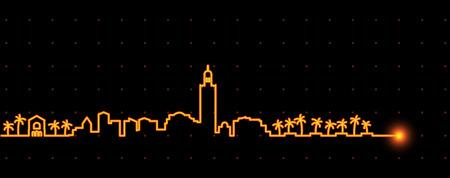 Marrakesh Light Streak Skyline Illustration