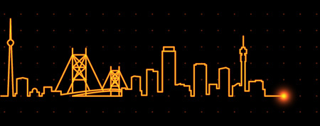 Orizzonte della striscia di luce di Johannesburg Vettoriali