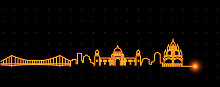 Kolkata Light Streak Skyline Illustration