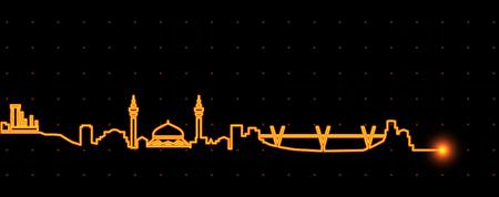 Amman Light Streak Skyline Illustration