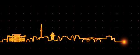 Sarajevo Light Streak Skyline Vector Illustration