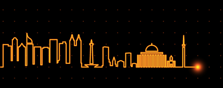 Jakarta Light Streak Skyline Illustration