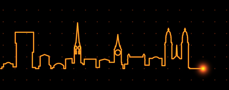 Zurich Light Streak Skyline Illustration