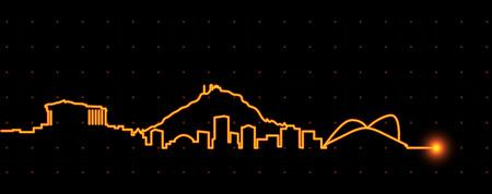 Athens Light Streak Skyline Illustration