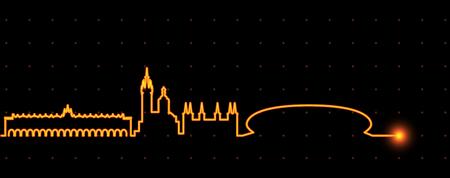 Krakow Light Streak Skyline Иллюстрация