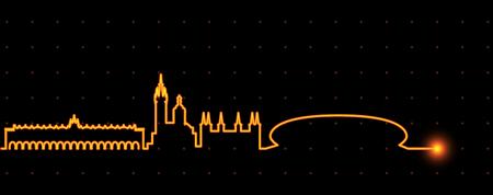 Krakow Light Streak Skyline Illustration