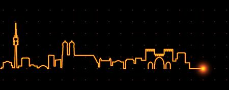 Horizonte de racha de luz de Munich Ilustración de vector