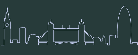 London Single Line Skyline 일러스트
