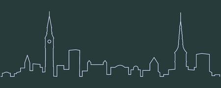 Copenhagen Single Line Skyline Ilustrace