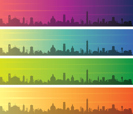 Bologna Multiple Color Gradient Skyline Banner Vectores