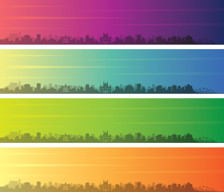 Palma de Mallorca Multiple Color Gradient Skyline Banner