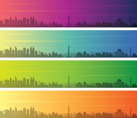 Jakarta Multiple Color Gradient Skyline Banner