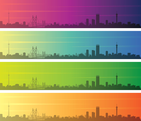 Johannesburg Multiple Color Gradient Skyline Banner