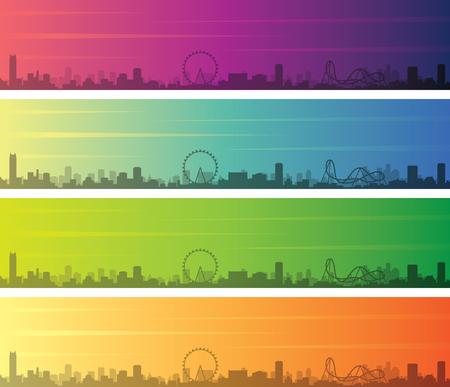 Orlando Multiple Color Gradient Skyline Banner