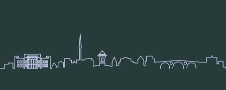 Sarajevo Single Line Skyline Illustration