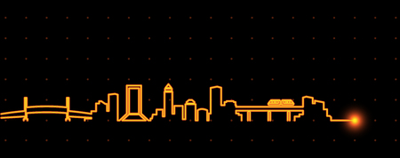 Jacksonville Light Streak Skyline Stock Vector - 114469034