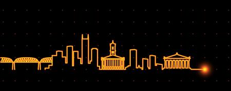 Nashville Light Streak Skyline Illustration