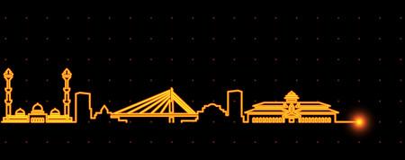 Bandung Light Streak Skyline Illustration