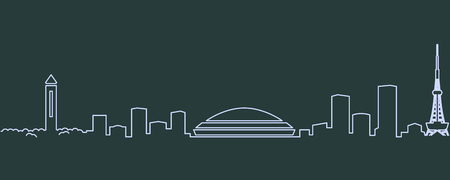 Nagoya Single Line Skyline Illustration