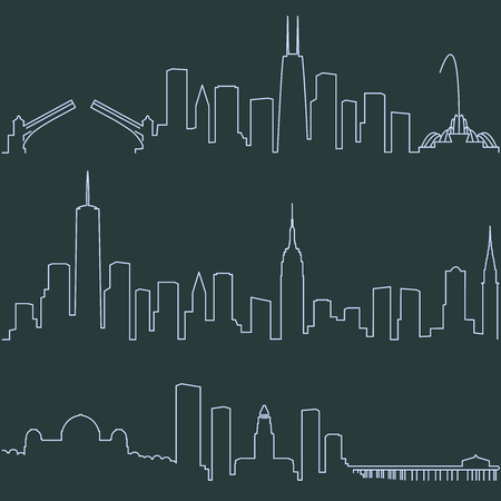 Chicago New York and Los Angeles Single Line Skylines 向量圖像