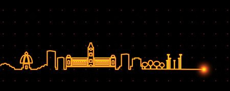 Chennai Light Streak Skyline Illustration