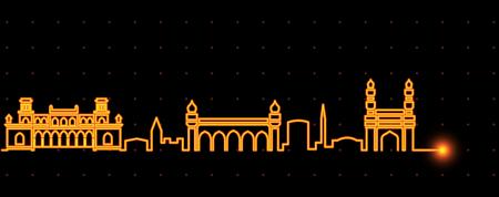 Hyderabad Light Streak Skyline